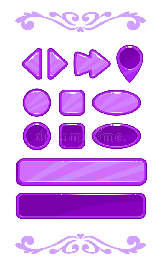 Cute violet vector game user interface. Different shape buttons set royalty free illustration