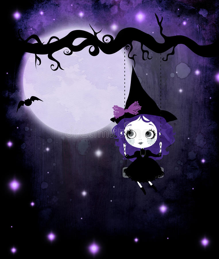 Cute Violet Witch stock photos