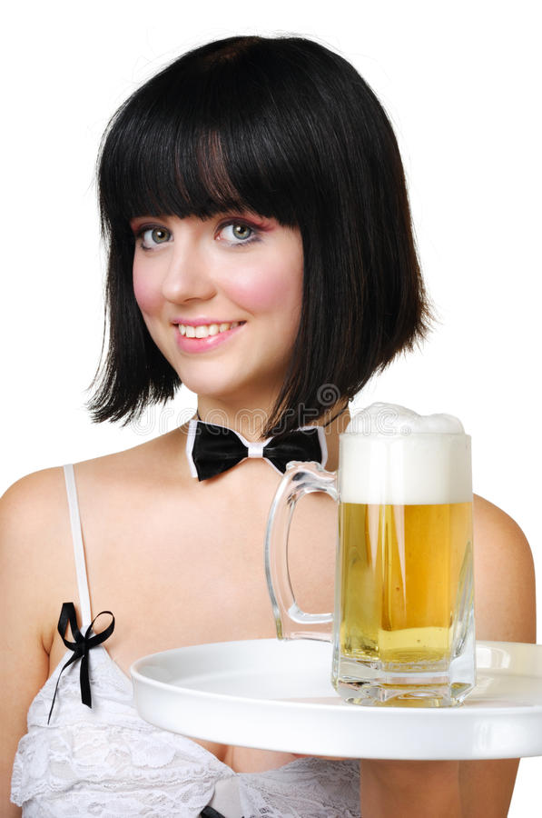 Cute waitress with beer royalty free stock photography