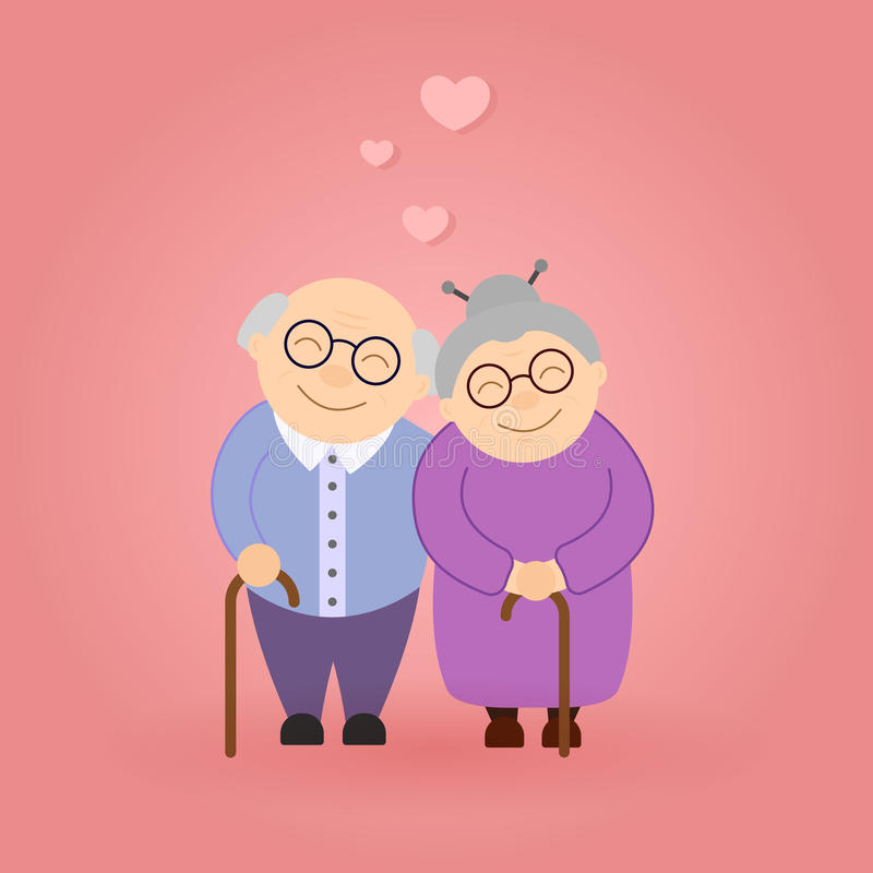 Cute walking grandparents. Happy Grandparent`s day. Elderly people stock illustration