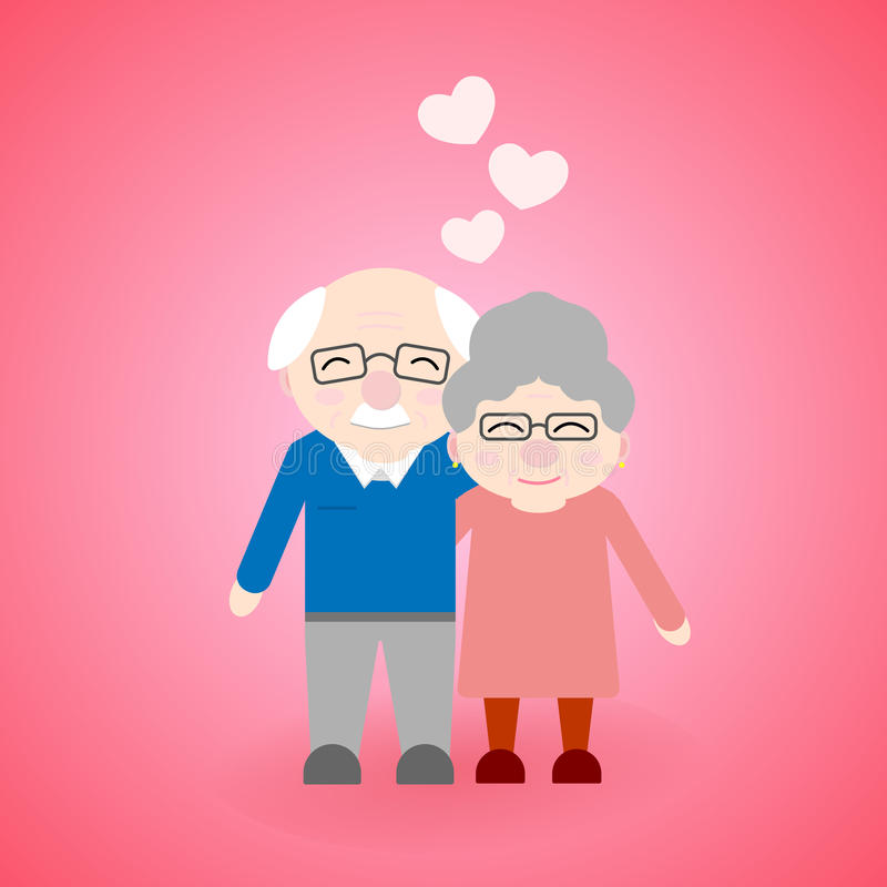 Cute walking grandparents. Happy Grandparent`s day. Elderly people with hearts royalty free illustration