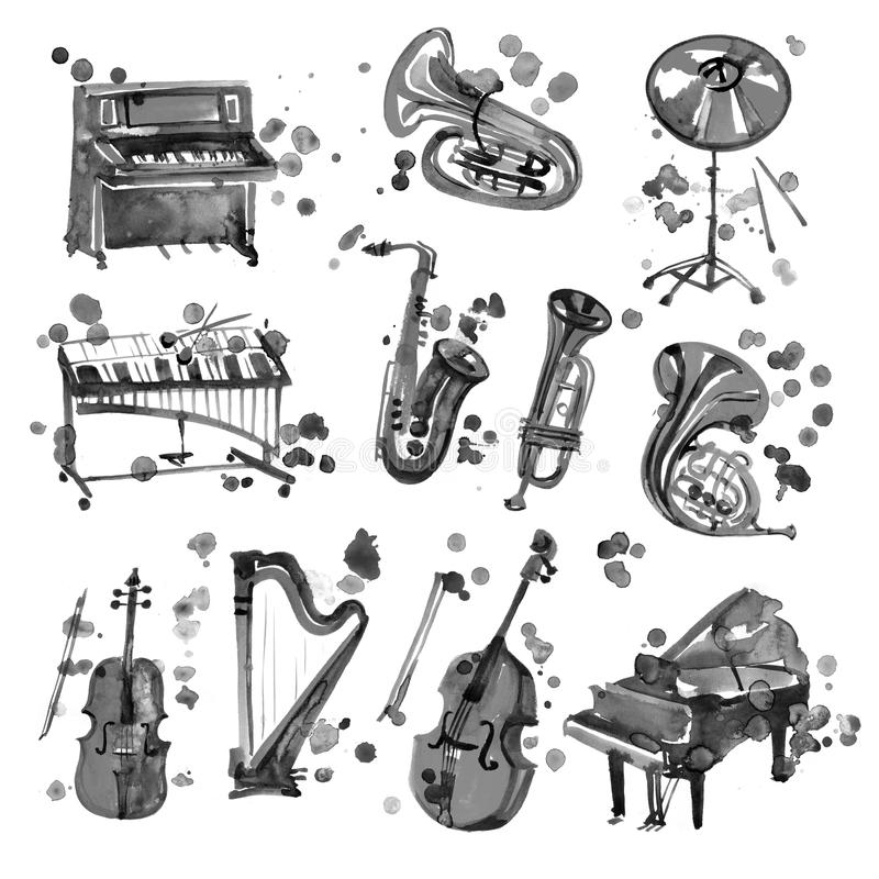 Cute watercolor black musical instruments including piano, violin, saxophone, drum, and other, vintage style vector illustration