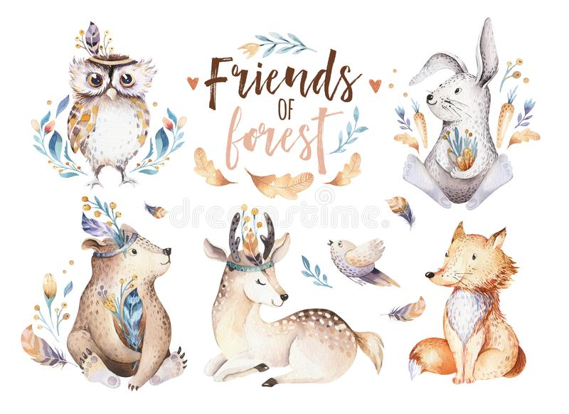 Cute watercolor bohemian baby cartoon rabbit and bear animal for kindergarten, woodland deer, fox and owl nursery. Cute watercolor bohemian baby cartoon rabbit vector illustration