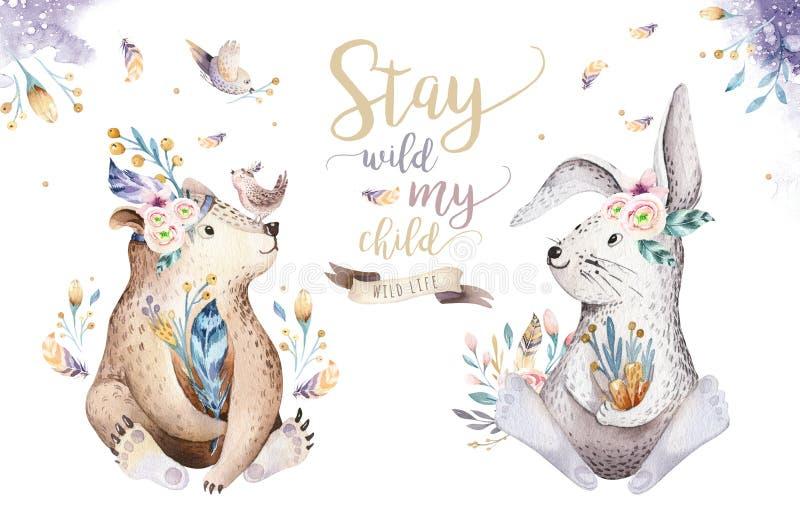 Cute watercolor bohemian baby cartoon rabbit and bear animal for kindergarten, woodland deer, fox and owl nursery. Cute watercolor bohemian baby cartoon rabbit royalty free illustration