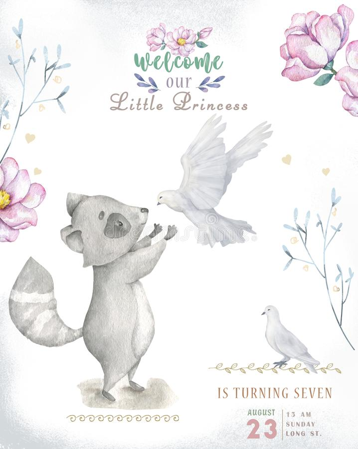 Cute watercolor bohemian baby cartoon roccoon and squirrel animal for kindergarten, woodland deer, fox and owl nursery isolated royalty free illustration