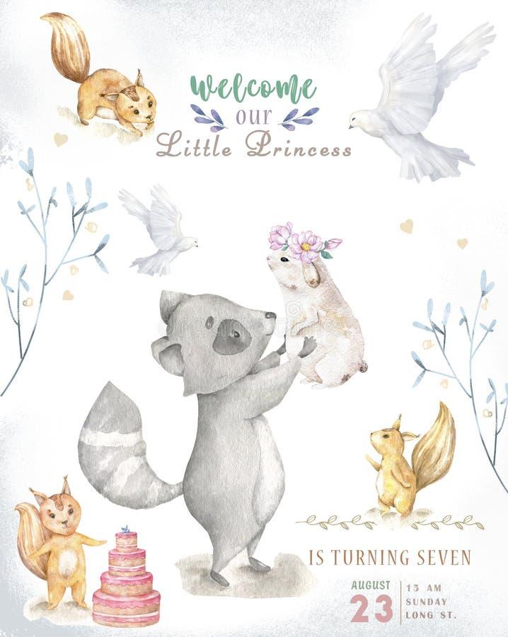 Cute watercolor bohemian baby cartoon roccoon and squirrel animal for kindergarten, woodland deer, fox and owl nursery isolated vector illustration