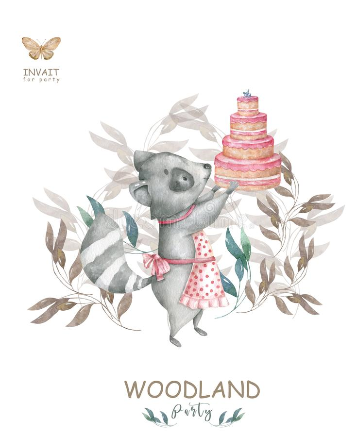 Cute watercolor bohemian baby cartoon roccoon and tasty cake animal for kindergarten, woodland party, tasty cake isolated forest royalty free illustration