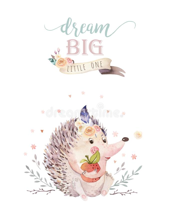 Cute watercolor bohemian baby hedgehog animal poster for nursary with bouquets, alphabet woodland isolated forest. Illustration. Baby shower animals invitation vector illustration