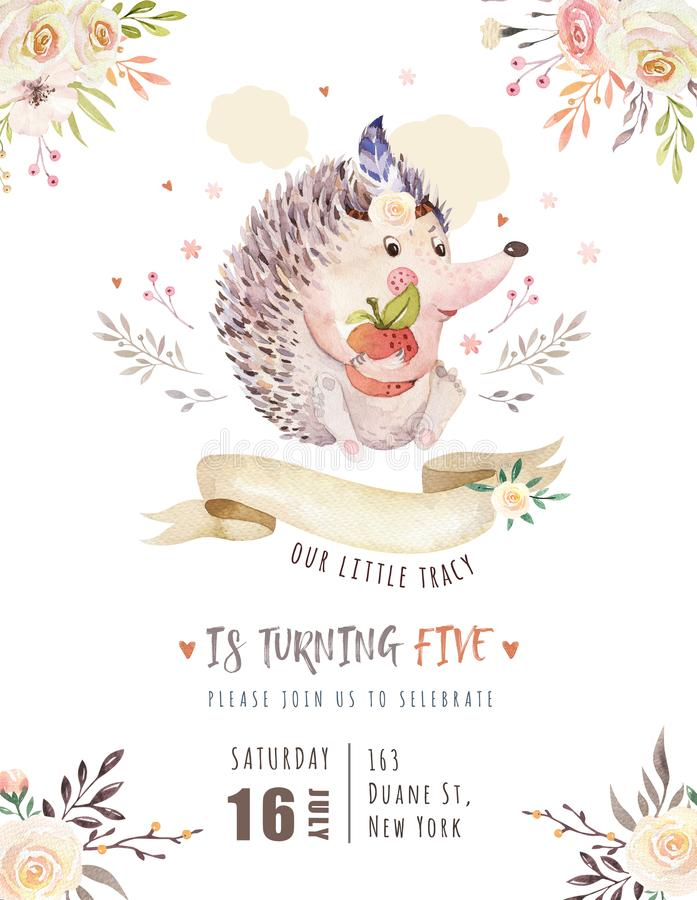 Cute watercolor bohemian baby hedgehog animal poster for nursary with bouquets, alphabet woodland isolated forest. Illustration. Baby shower animals invitation stock illustration