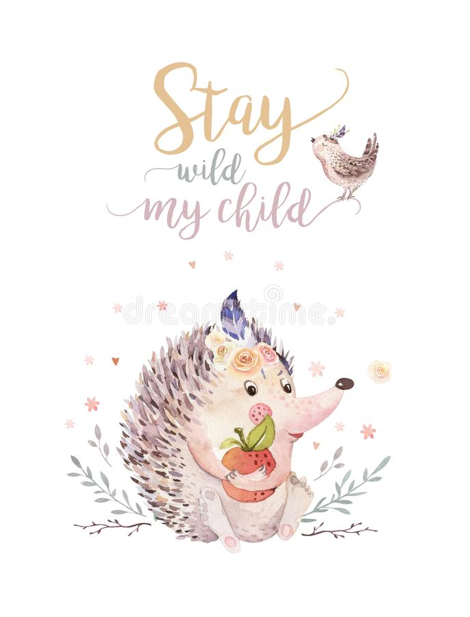 Cute watercolor bohemian baby hedgehog animal poster for nursary with bouquets, alphabet woodland isolated forest stock illustration