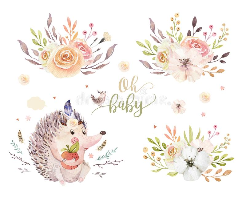 Cute watercolor bohemian baby hedgehog animal poster for nursary with bouquets, alphabet woodland isolated forest royalty free illustration