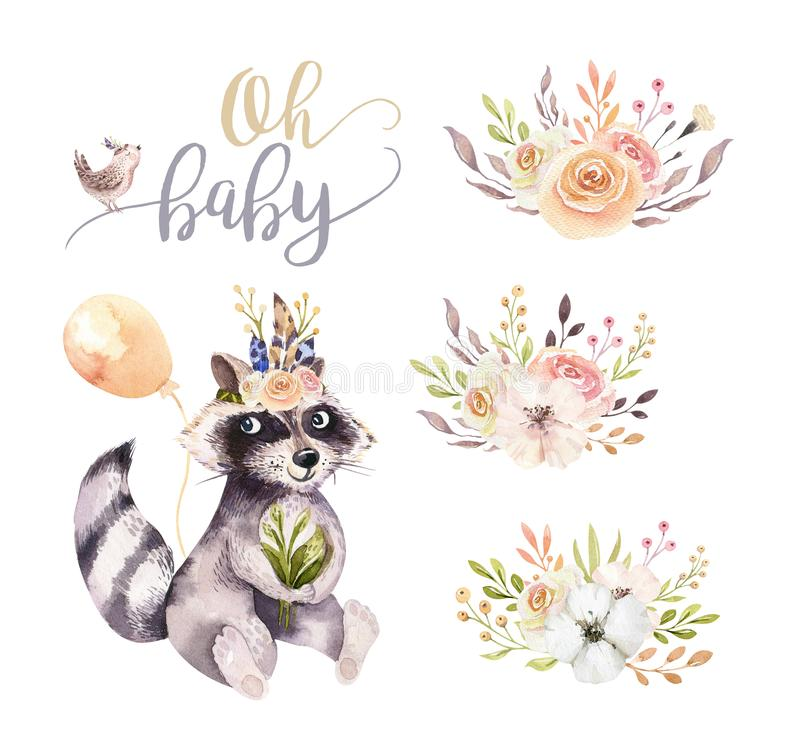 Cute watercolor bohemian baby raccoon animal poster for nursary with bouquets, children alphabet woodland isolated vector illustration