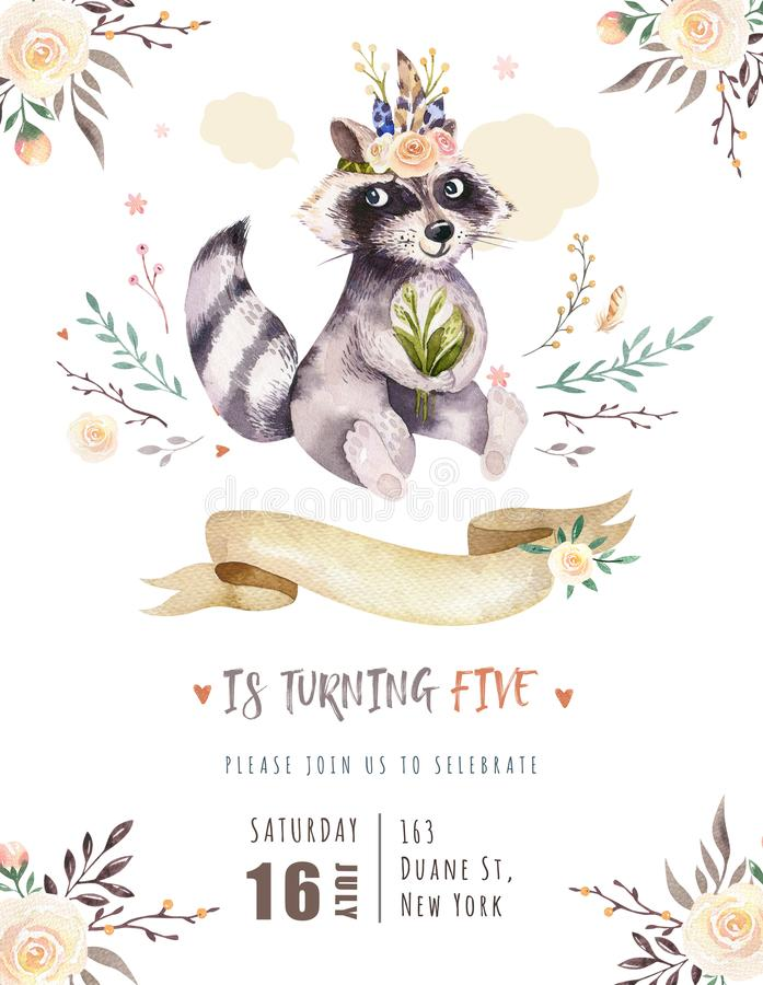 Cute watercolor bohemian baby raccoon animal poster for nursary with bouquets, children alphabet woodland isolated. Cute watercolor bohemian baby raccoon animal royalty free illustration