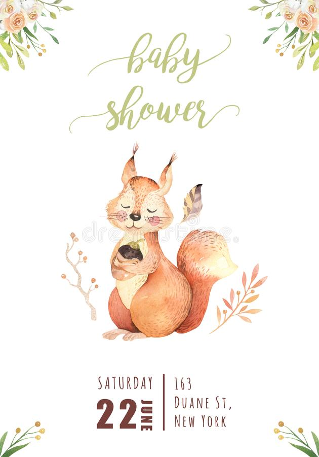 Cute watercolor bohemian baby squirrel animal poster for nursary, alphabet woodland isolated forest illustration for royalty free illustration