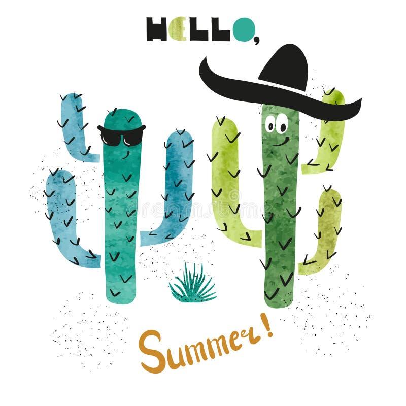 Cute watercolor cactus vector illustration. stock illustration