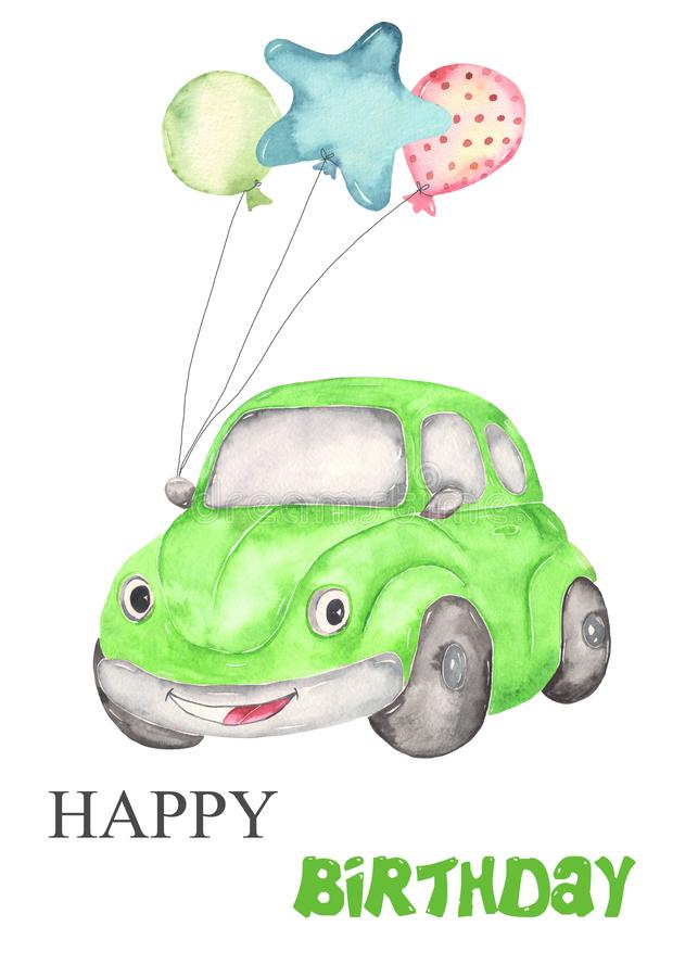 Cute watercolor car beetle for kids birthday card. Happy Birthday Card with high quality hand painted watercolor for your unique design stock illustration