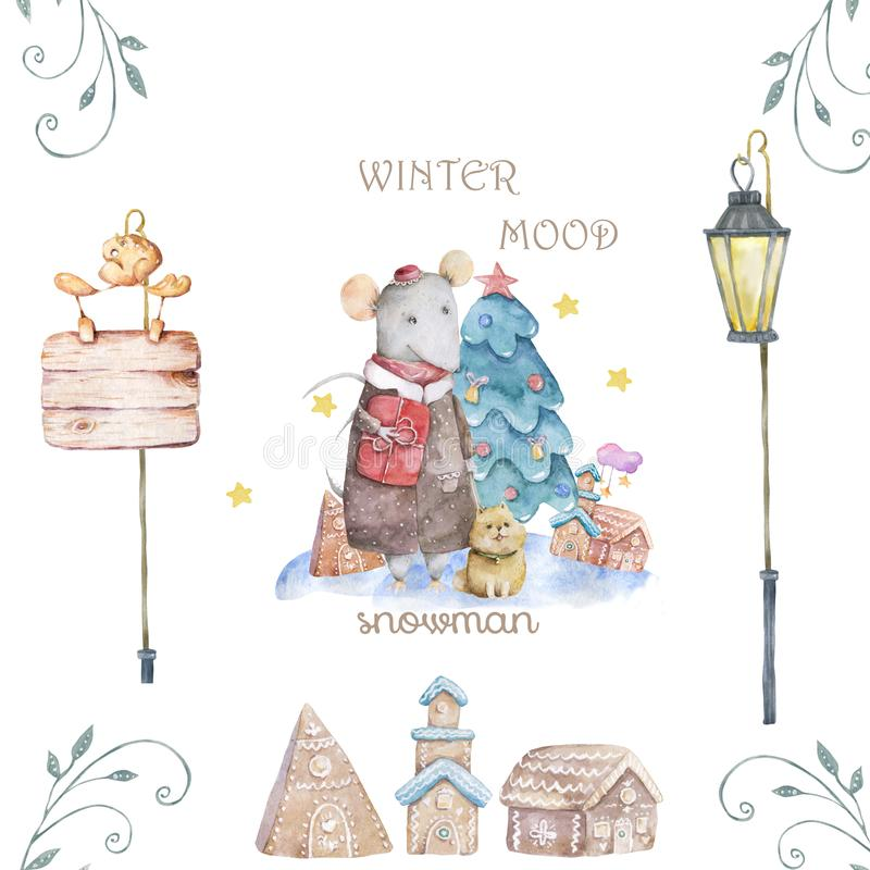 Cute watercolor cartoon rats and spruce tree. Watercolor hand drawn animals illustration. New Year 2020 holiday drawing. Cute white rat and mouse illustration vector illustration