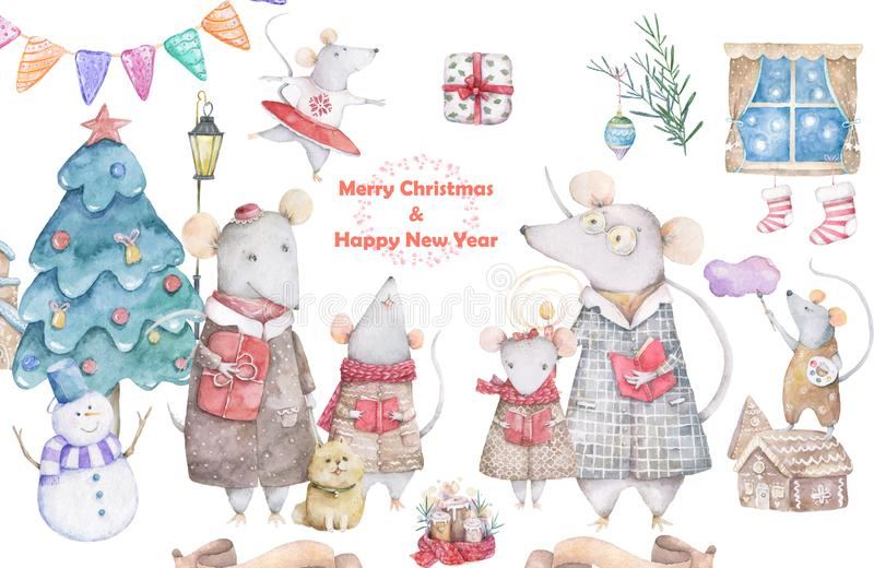 Cute watercolor cartoon set rats and spruce tree. Watercolor hand drawn animals illustration. New Year 2020 holiday drawing. Cute white rat and mouse stock illustration