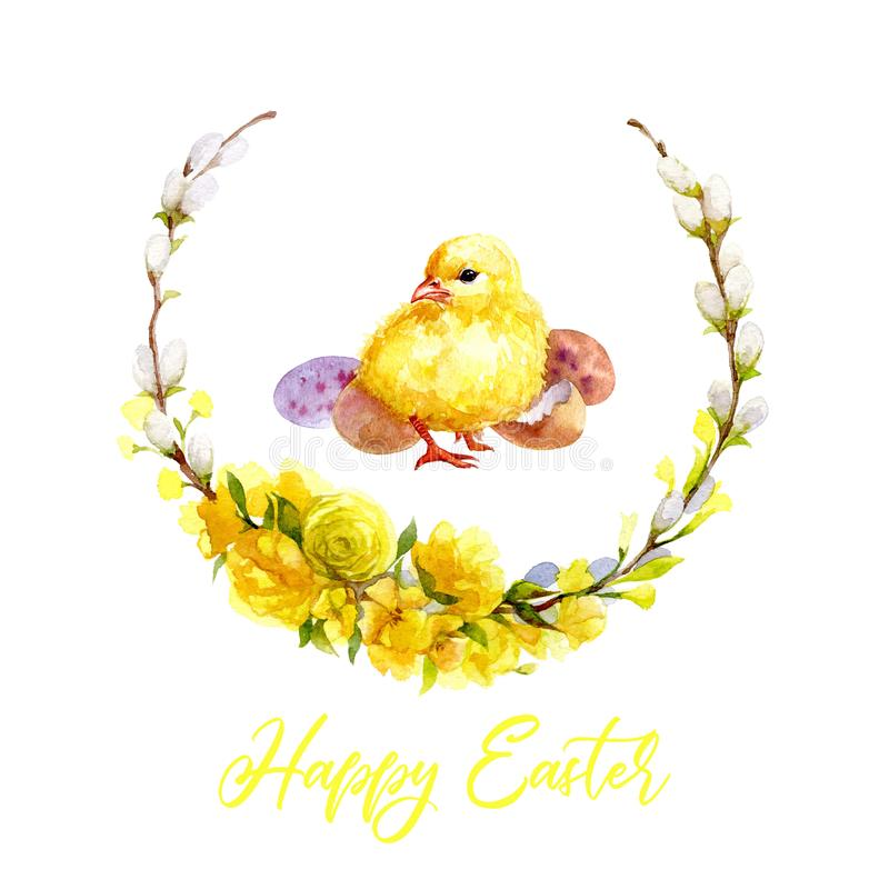 Happy easter greeting card. Cute watercolor chicken with wreath royalty free illustration