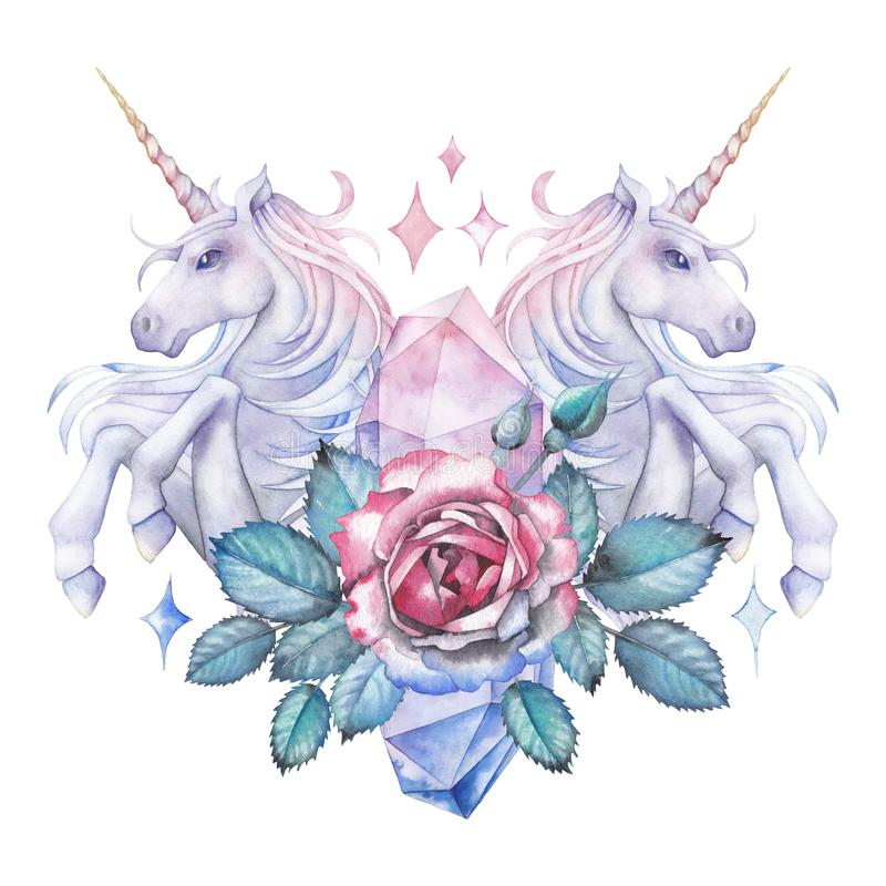 Watercolor design with unicorn and rose vignette royalty free illustration