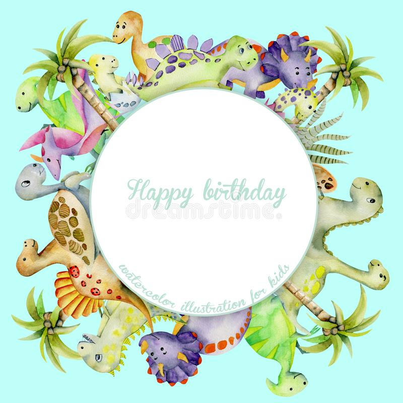 Cute watercolor dinosaurs frame, round border royalty free illustration