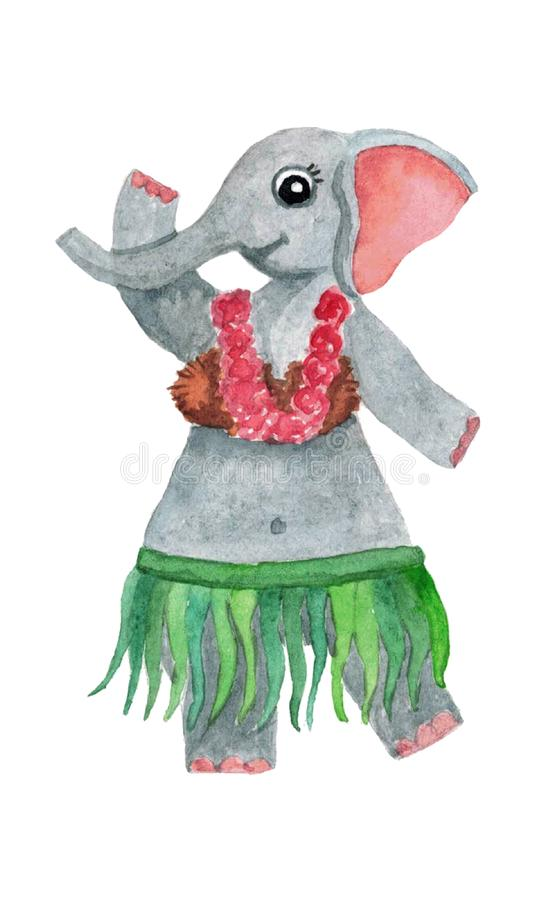 Cute watercolor elephant in a skirt of leaves and a floral wreath around his neck. Isolated hand drawn illustrations for design royalty free illustration