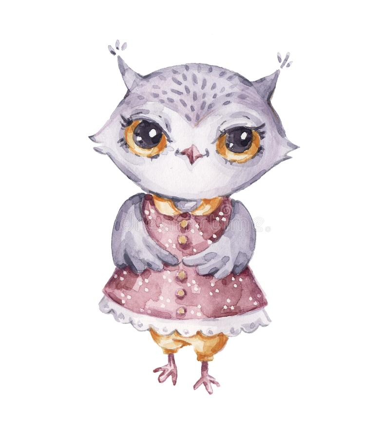 Cute watercolor female owl, childish style royalty free illustration