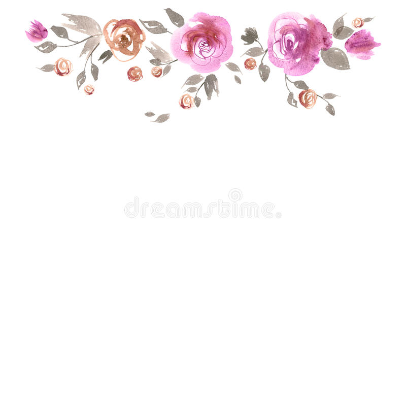 Download Cute Watercolor Flower Border Background With Pink Roses Stock Illustration