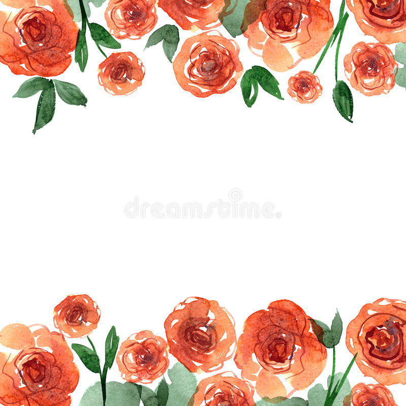 Download Cute Watercolor Flower Border Background With Orange Roses Stock Illustration