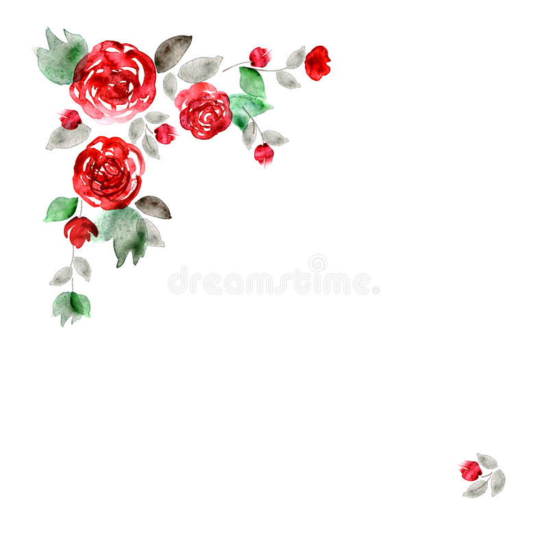 Cute watercolor flower frame. Background with red roses. stock illustration