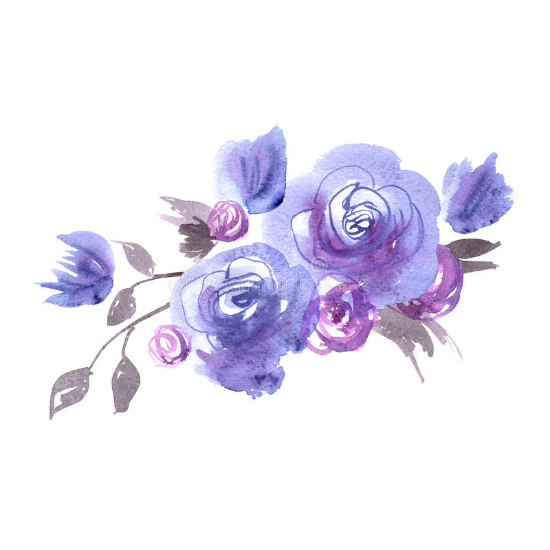 Cute watercolor flowers. Blue roses. royalty free illustration
