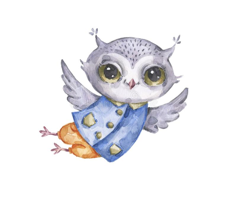 Cute watercolor flying male owl, fantasy character stock illustration