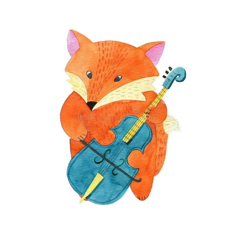 Watercolor Fox playing the cello stock illustration