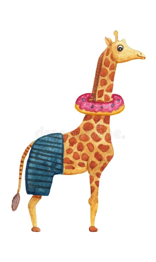 Cute watercolor giraffe in swimming shorts and inflatable circle. Isolated hand drawn illustrations for design vector illustration