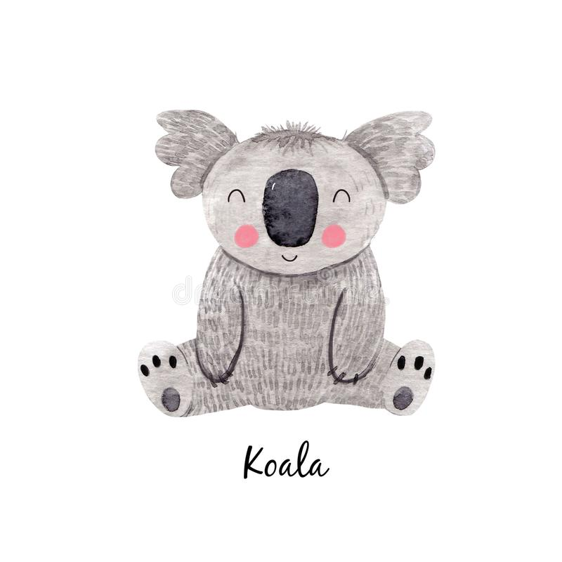 Cute watercolor australian baby koala bear illustration for children print vector illustration