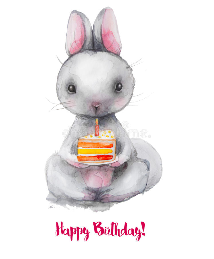 Cute Watercolor Hare With Birthday Cake Stock Illustration
