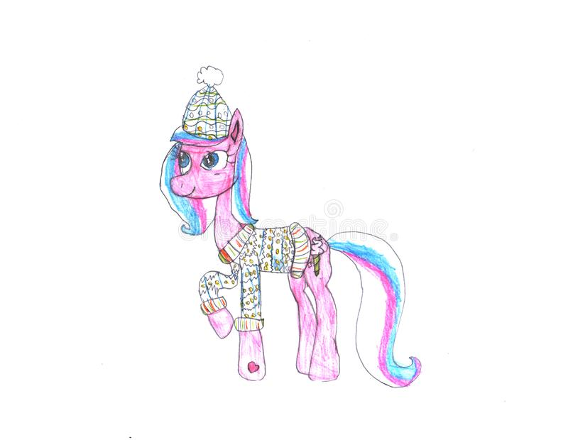 Cute watercolor horse on white background vector illustration