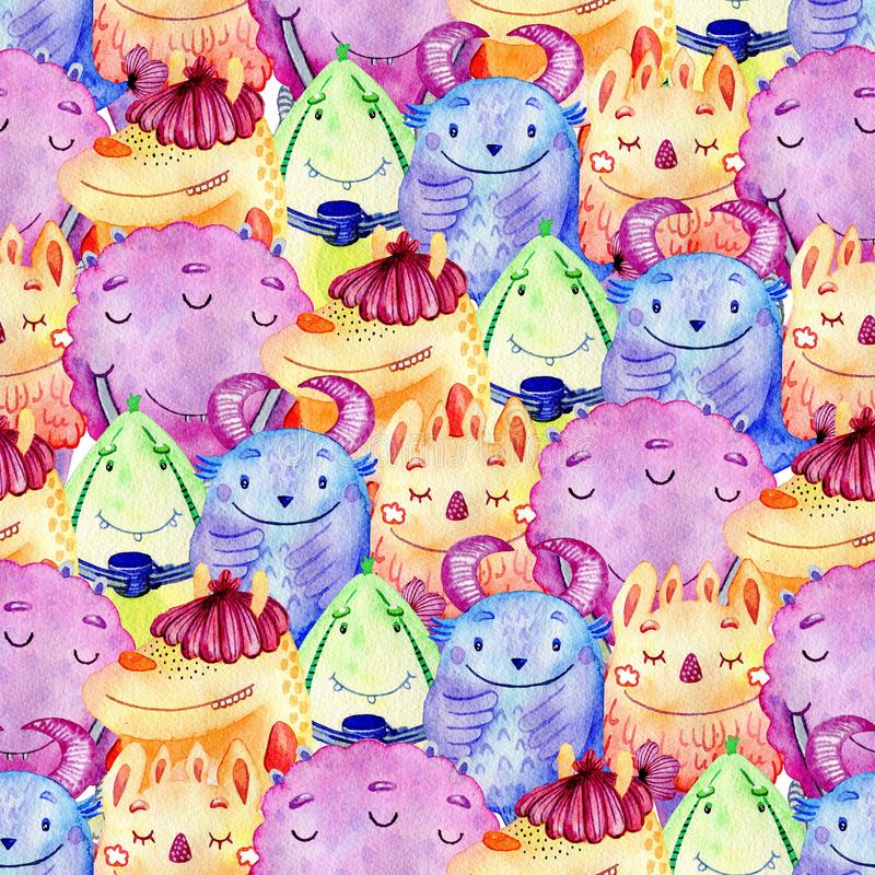 Cute watercolor Monsters vector illustration