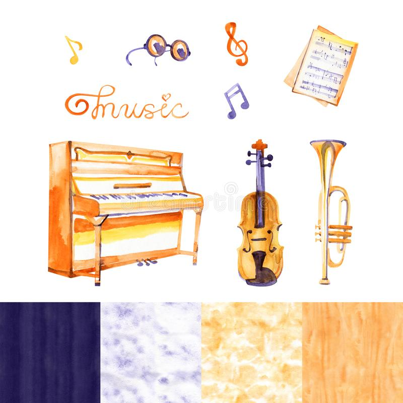 Cute watercolor musical instruments including piano, violin, and other, vintage style royalty free illustration