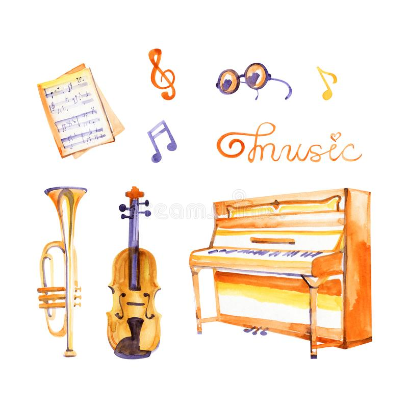 Cute watercolor musical instruments including piano, violin, and other, vintage style vector illustration