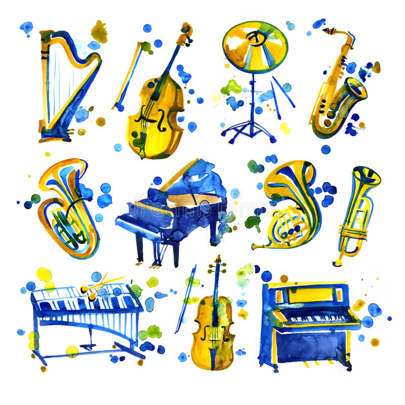 Cute watercolor musical instruments including piano, violin, saxophone, drum, and other, vintage style royalty free illustration