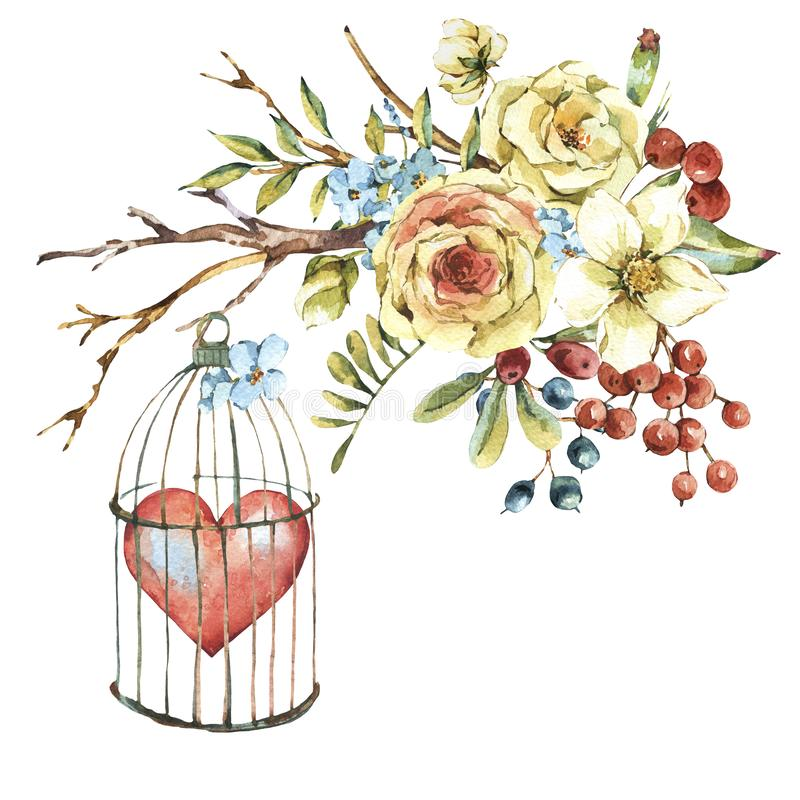 Cute watercolor natural floral greeting card with white rose, red heart stock illustration