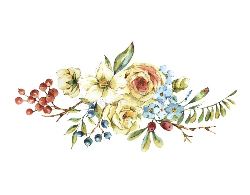 Cute watercolor natural floral greeting card with white rose royalty free illustration