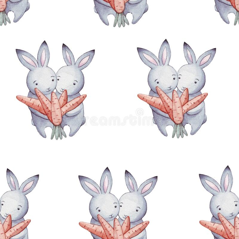 Cute watercolor pattern funny cartoon little bunny with orange carrot isolated on white. Easter repeating background with bunnies. Design for Valentine`s Day stock illustration