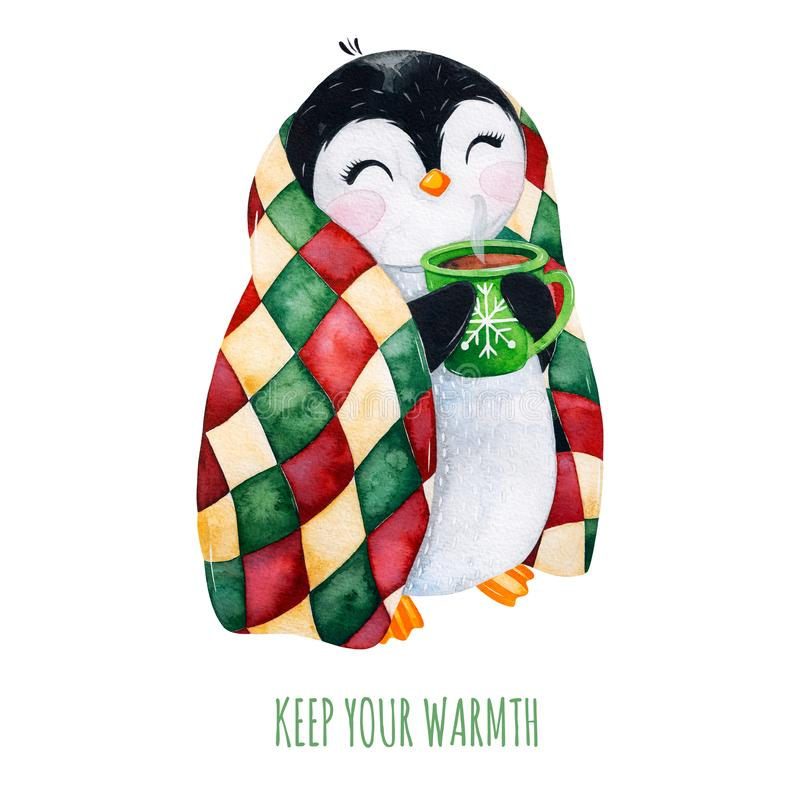 Cute watercolor penguin with a cup of hot drink in winter knitted plaid. vector illustration