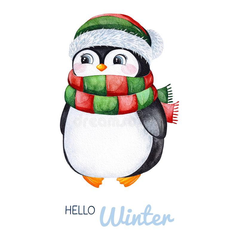 Cute watercolor penguin in winter knitted clothes.Hand painted holiday illustration royalty free illustration