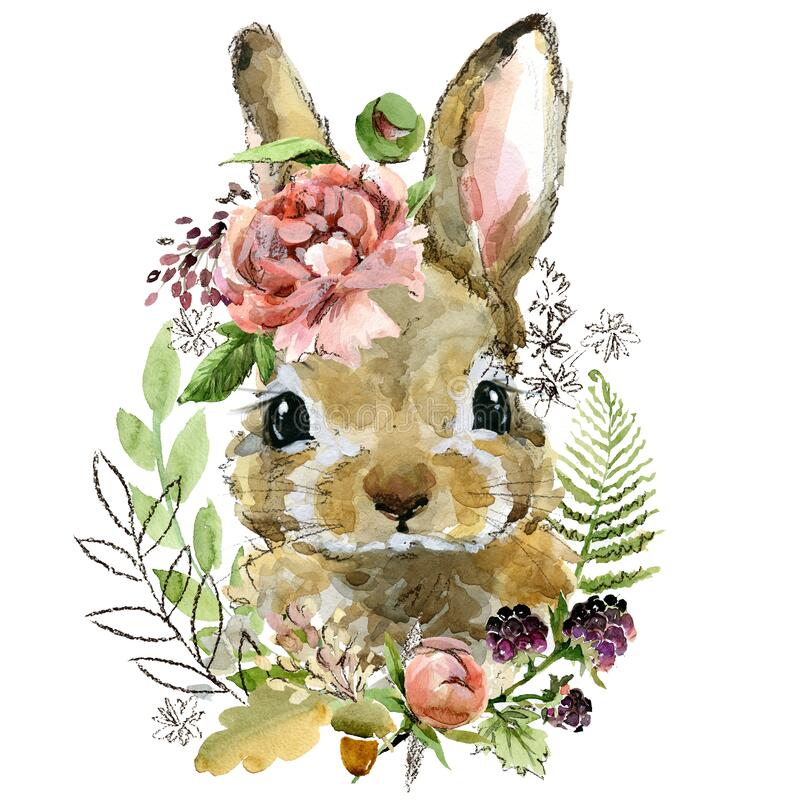 Free Cute Watercolor Rabbit. Cartoon Forest Animal Illustration. Stock Images - 176771034
