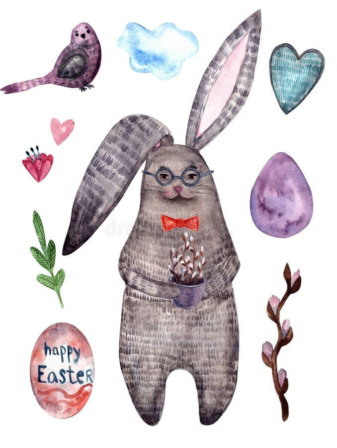 Cute watercolor rabbit, happy easter stock illustration