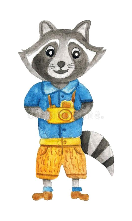 Cute watercolor raccoon tourist with a camera in his hands. Isolated hand drawn illustrations for design royalty free illustration