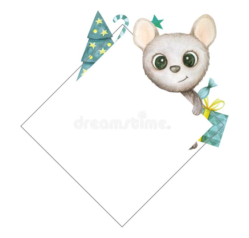 Cute watercolor rat isolated on white background. Mouse symbol 2020 new year. Frame. Cute hand drawn watercolor rat isolated on white background. Mouse symbol royalty free illustration